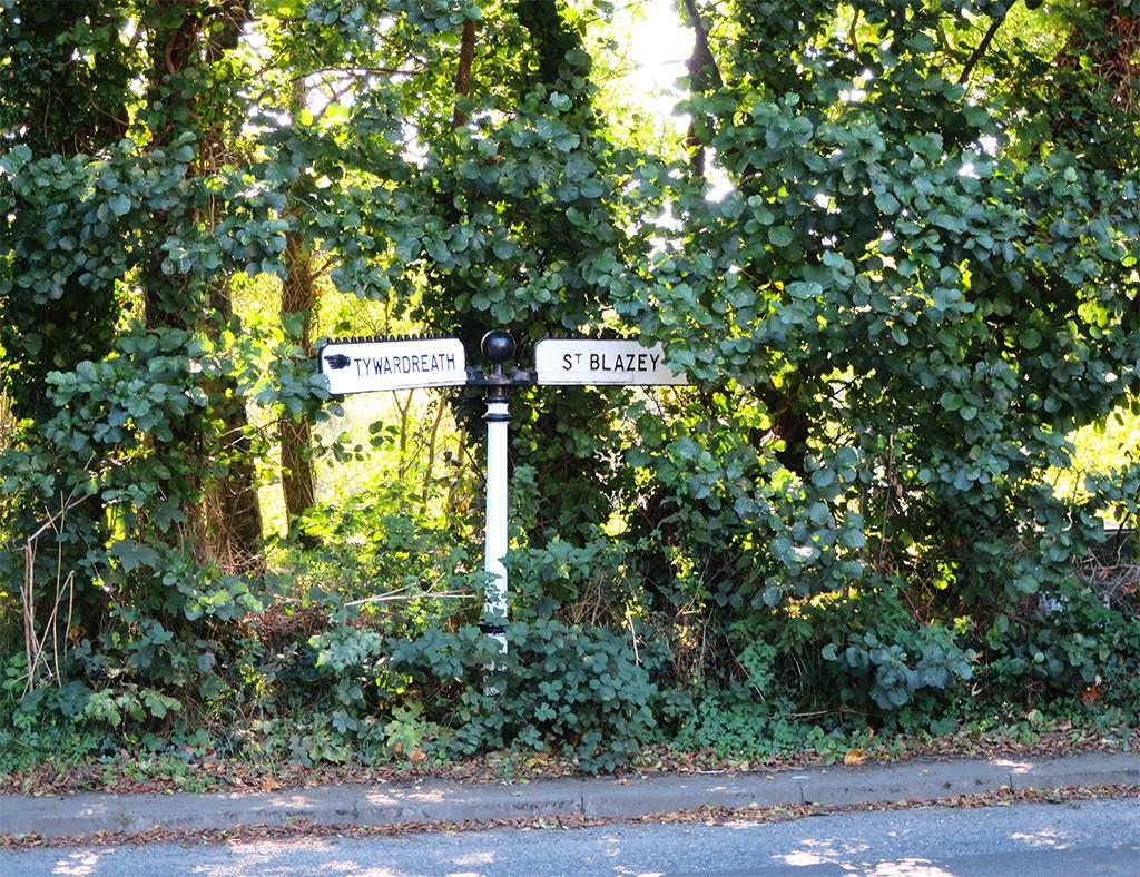 St Blazey road sign